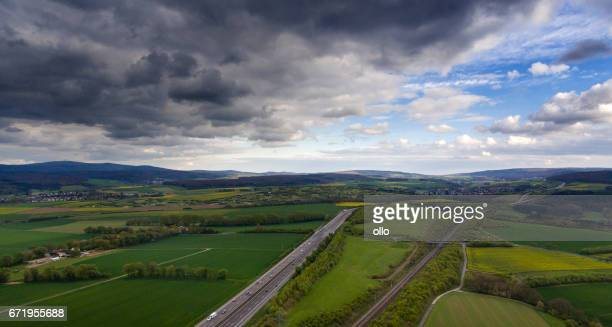 German landscape - cloudscape and Taunus mountains, aerial view