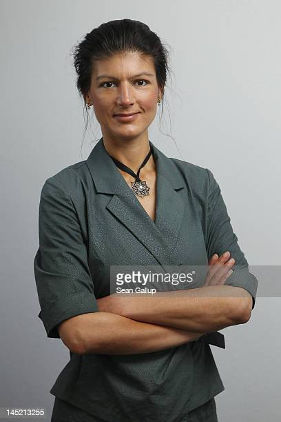 German leftwing politician Sahra Wagenknecht poses for a portrait before speaking the Foreign Journalists' Association on May 24 2012 in Berlin...