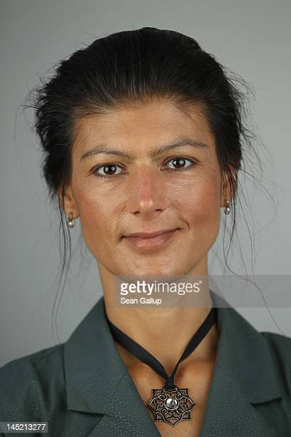 German leftwing politician Sahra Wagenknecht poses for a portrait before speaking to the Foreign Journalists' Association on May 24 2012 in Berlin...