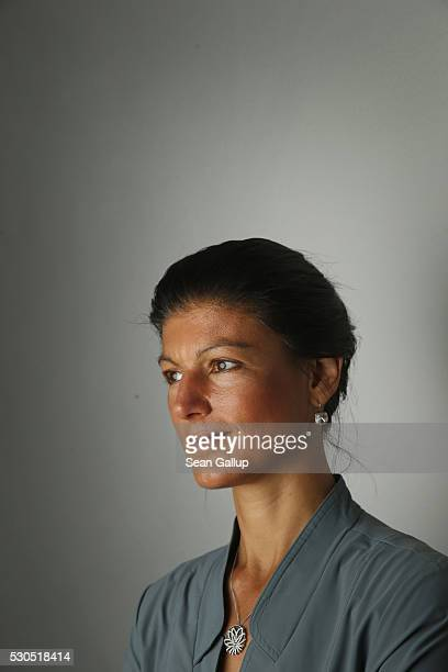 German leftwing politician Sahra Wagenknecht poses for a portrait prior to meeting with foreign journalists on May 11 2016 in Berlin Germany...