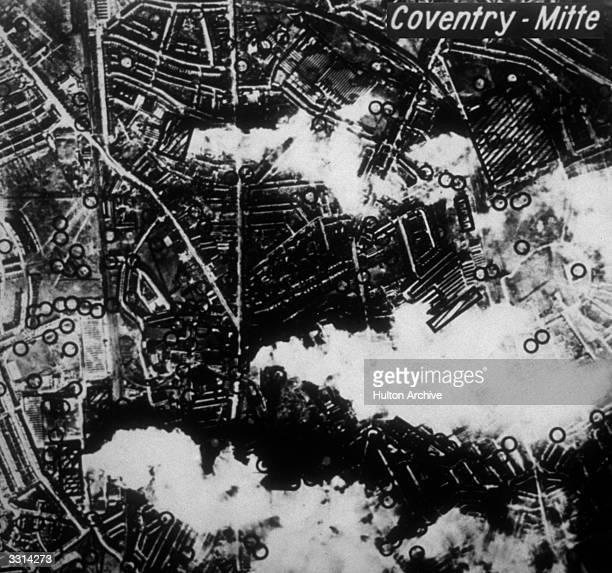 Coventry as photographed by the Germans it reveals key targets and shows plumes of smoke from various bombings