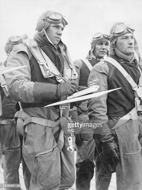 A German Luftwaffe seaplane pilot noting his orders circa 1939