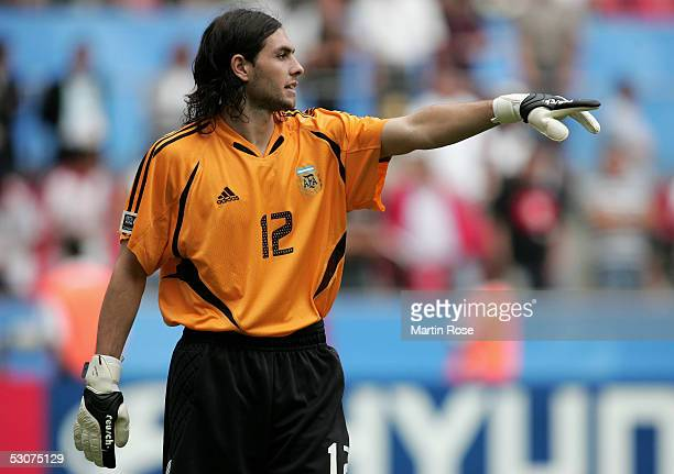 German Lux Goalkeeper of Argentina gestures during the FIFA Confederations Cup Match between Argentina and Tunisia on June 15 2005 in Cologne Germany
