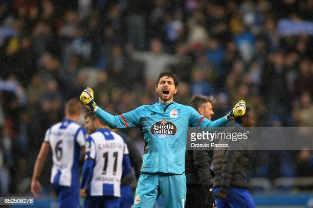 German Lux of RC Deportivo La Coruna celebrates the victory against FC Barcelona during the La Liga match between RC Deportivo La Coruna and FC...
