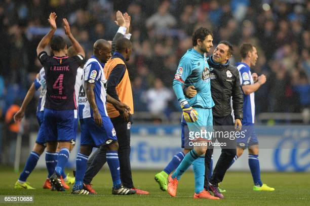 German Lux of RC Deportivo La Coruna celebrates with teammates the victory against FC Barcelona during the La Liga match between RC Deportivo La...