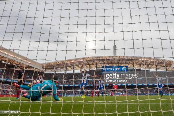 German Lux of RC Deportivo La Coruna make a save during the La Liga match between RC Deportivo La Coruna and FC Barcelona at Riazor Stadium on March...