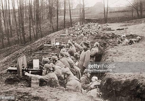 A German machine gun unit in Darkehmen East Prussia during World War I circa 1916