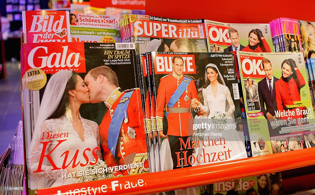 German magazines show on front pages the Royal Highnesses Prince William, Duke of Cambridge and Catherine, Duchess of Cambridge at a news stand on May 2, 2011 in Berlin, Germany. The marriage of the second in line to the British throne was led by the Archbishop of Canterbury and was attended by 1900 guests, including foreign Royal family members and heads of state April 29.