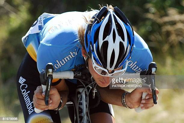 German Marcus Burghardt takes speed as he rides on July 18 2008 during the 182 km thirteenth stage of the 2008 Tour de France cycling race run...