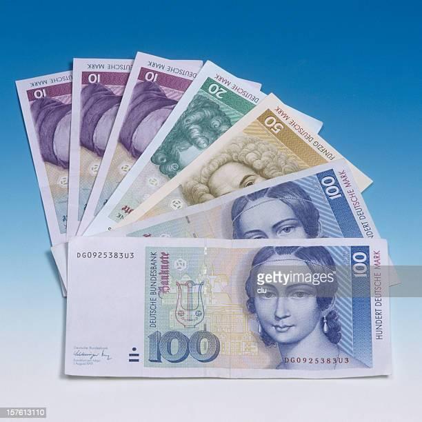 OLD german mark bills in a row
