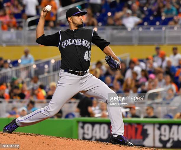 German Marquez of the Colorado Rockies in action during the game between the Miami Marlins and the Colorado Rockies at Marlins Park on August 13 2017...
