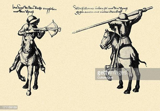 German mercenaries in combat one using crossbow and the other using pike Both mounted on horses Source Illustrations from the Thalhoffers Fechtbuch...