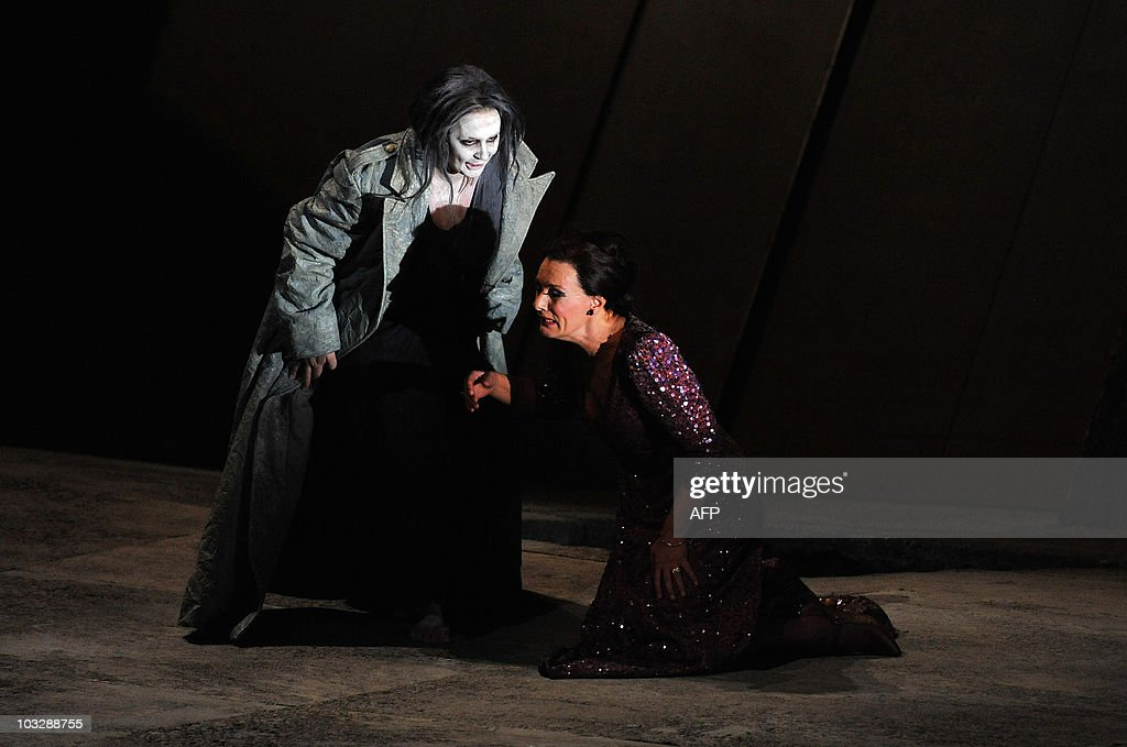 German mezzo-soprano Waltraud Meier (R) in the role of Klytaemnestra and Swedish soprano Irene Theorin (L) in the role of Elektra perform during a dress rehearsal of the opera 'Elektra' composed by Richard Strauss, on August 4, 2010 in Salzburg. The premiere of the opera will be presented on August 8, 2010 during The Salzburg Festival, the annual high-brow culture fest celebrating this year its 90th anniversary.