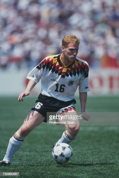 German midfielder Matthias Sammer pictured in action with the ball in the 1994 FIFA World Cup Group C match between Germany and Bolivia at Soldier...