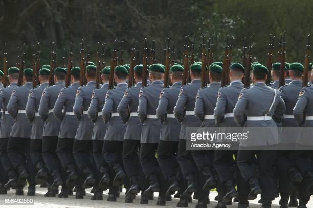 German Military Guard wait for the new elected German President FrankWalter Steinmeier during the Military Honor ceremony in Bellevue Castle in...