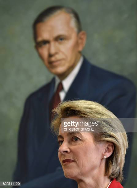 German Minister for Defense Ursula von der Leyen is pictured in front of a painting of former US general George C Marshall during a joint press...