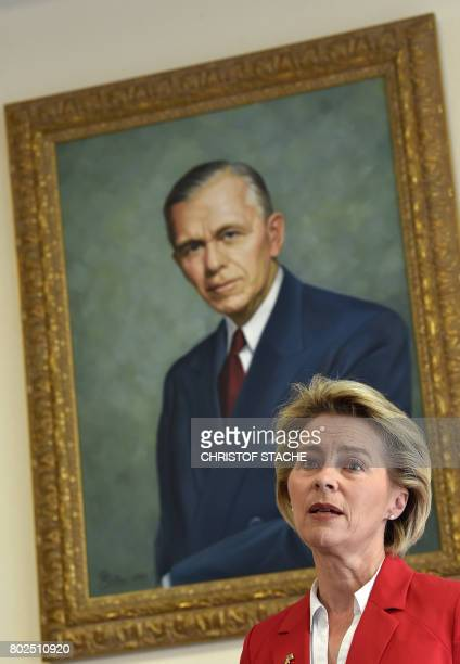 German Minister for Defense Ursula von der Leyen speaks in front of a painting of former US general George C Marshall during a joint press statement...