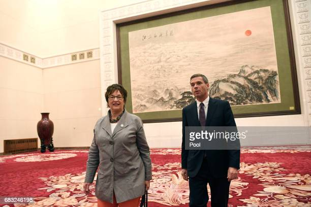 German Minister for Economic Affairs and Energy Brigitte Zypries is seen after a meeting with Chinese Premier Li Keqiang on May 15 2017 at the Great...