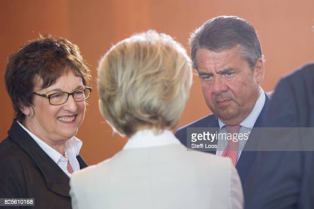 German Minister for Economic Affairs and Energy Brigitte Zypries German Defence Minister Ursula von der Leyen and German Foreign Minister and Vice...