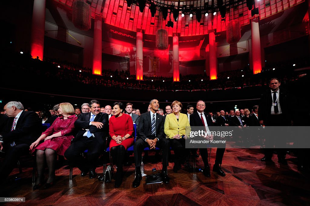 German Minister for Education and Research Johanna Wanka, German Minister for Economic Affairs and Energy Sigmar Gabriel, U.S. Secretary of Commerce Penny Pritzker, U.S. President Barack Obama, German chancellor Angela Merkel and Minister President of Lower Saxony Stephan Weil attend the opening evening of the Hannover Messe trade fair on April 24, 2016 in Hanover, Germany. Obama met with German Chancellor Angela Merkel in Hanover earlier in the day and is scheduled to tour exhibition halls at the fair tomorrow. Hannover Messe is the world's largest industrial trade fair.