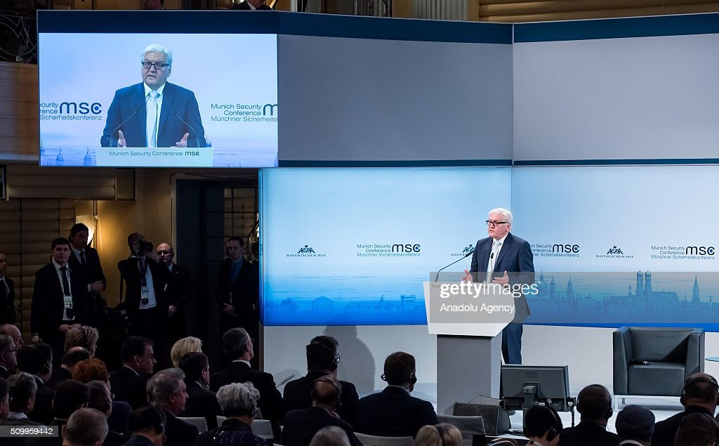 German Minister for Foreign Affairs, Frank-Walter Steinmeier speaks at the 2016 Munich Security Conference at the Bayerischer Hof hotel on February 13, 2016 in Munich, Germany. The annual event brings together government representatives and security experts from across the globe and this year the conflict in Syria will be the main issue under discussion.