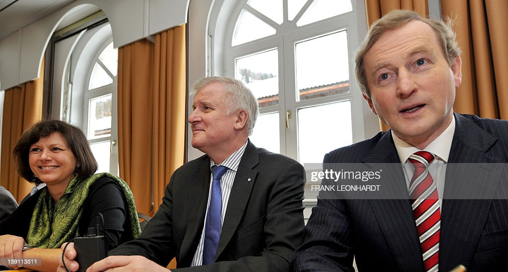 German Minister of Agriculture Ilse Aigner (L- R), CSU chairman Horst Seehofer and their guest Irish Prime Minister Enda Kenny attend a press conference during a convention of the Bavarian CSU party in Wildbad Kreuth, southern Germany on January 08, 2013. Kenny was invited to speak about European politics as Ireland resumed the rotating EU presidency over Cyprus. The Irish Prime Minister also commented on the current situation in Northern Ireland, saying that the situation is very serious.