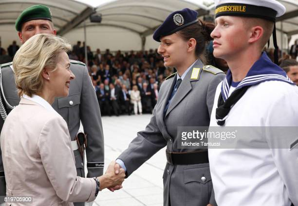 German Minister of Defence Ursula von der Leyen greets the recruits of the German armed forces the Bundeswehr take their pledge to serve during a...