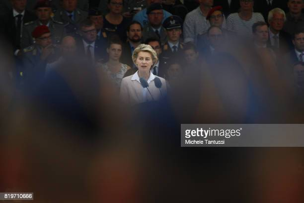 German Minister of Defence Ursula von der Leyen speaks to recruits of the German armed forces the Bundeswehr take their pledge to serve during a...