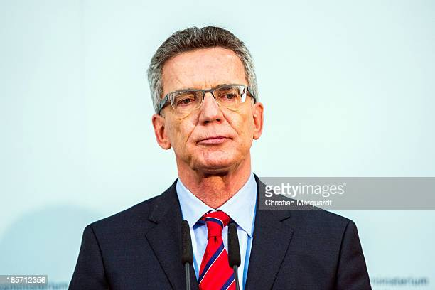 German Minister of Defense Thomas de Maiziere talks to the media after the meeting with the Afghan Minister of Defense Bismillah Khan Mohammadi on...