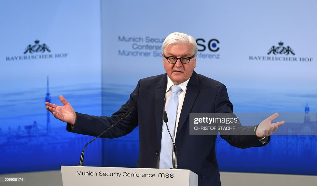 German Minister of Foreign Affairs Frank-Walter Steinmeier speaks during a panel at the second day of the 52nd Munich Security Conference (MSC) in Munich, southern Germany, on February 13, 2016. / AFP / Christof STACHE