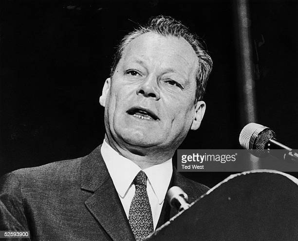 German Minister of Foreign Affairs Willy Brandt addresses a Socialist International Congress at Eastbourne 16th June 1969