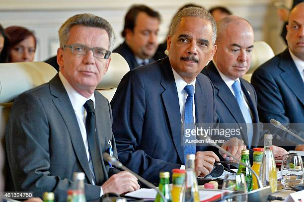 German Minister of Interior Thomas de Maiziere and Eric Holder Minister of Interior of the United States of Aerica during the meeting with ministers...