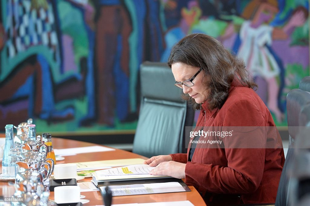 German Minister of Labour and Social Affairs Andrea Nahles attends the weekly cabinet meeting at the Chancellery in Berlin, Germany on May 04, 2016.