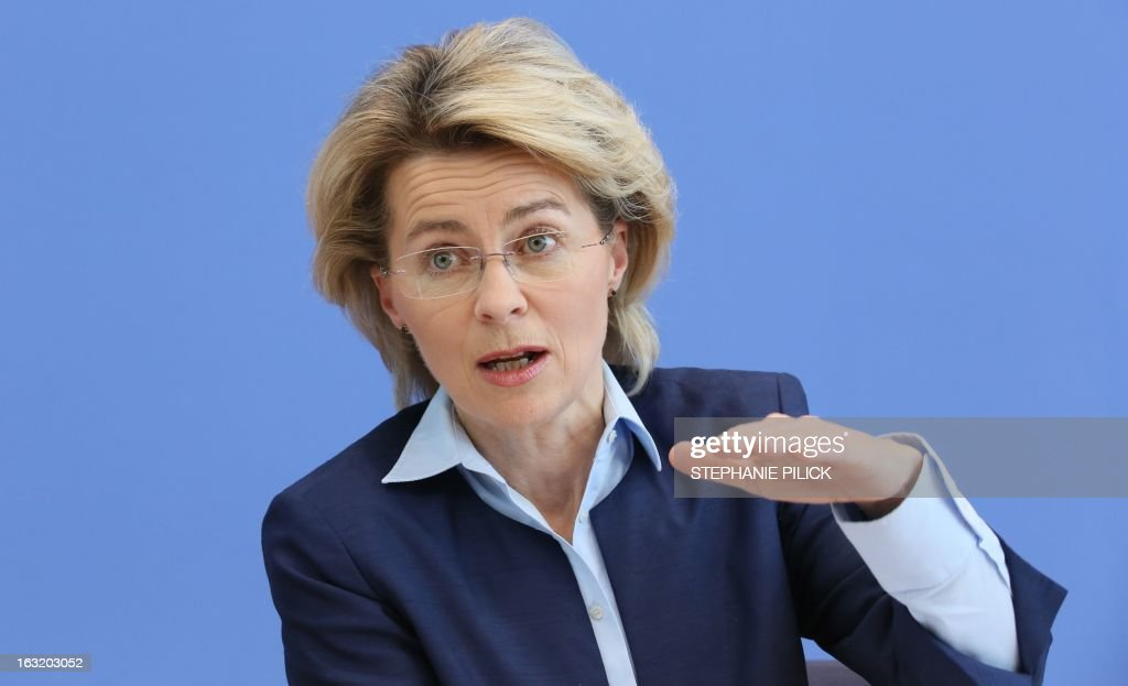 German Minister of Labour and Social Affairs Ursula von der Leyen gestures as she presents the poverty and wealth report in Berlin March 6, 2013.
