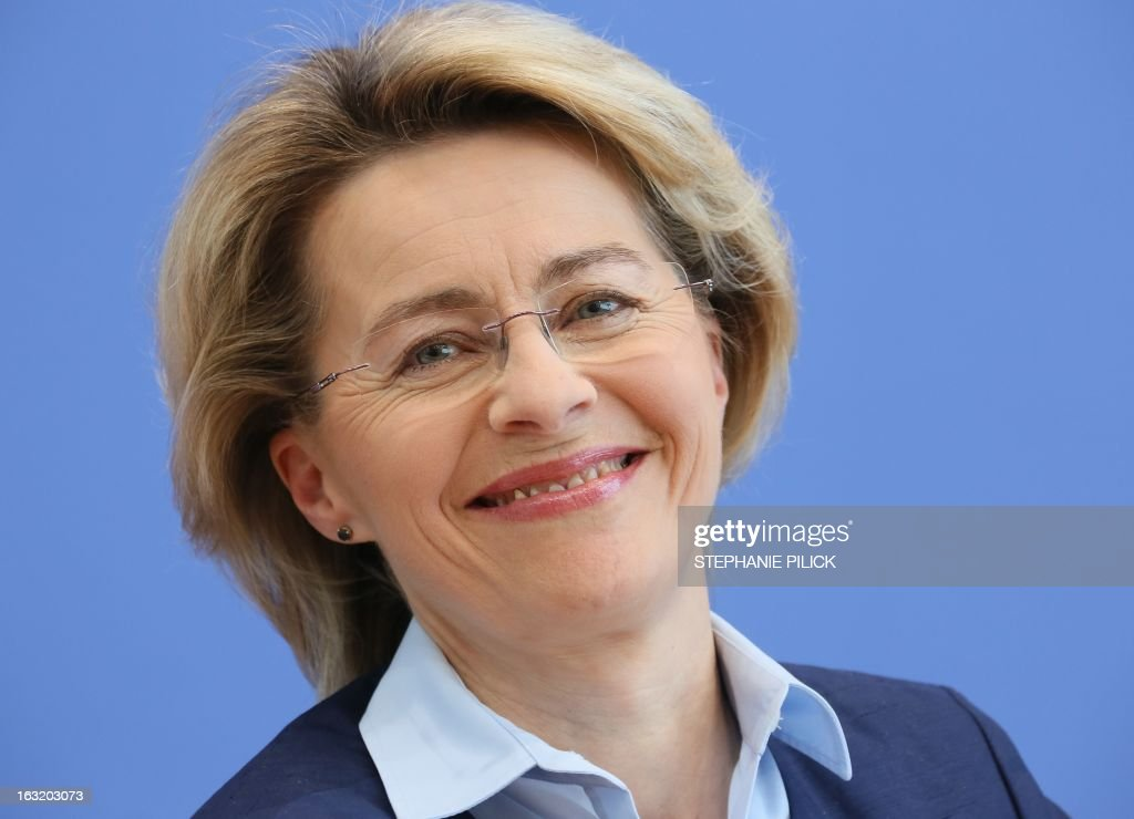 German Minister of Labour and Social Affairs Ursula von der Leyen reacts as she presents the poverty and wealth report in Berlin March 6, 2013.