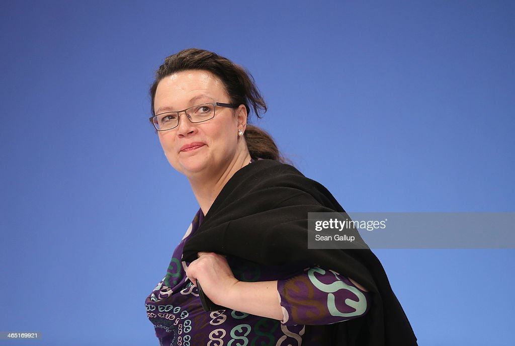 German Minister of Work and Social Issues and member of the German Social Democrats (SPD) <a gi-track='captionPersonalityLinkClicked' href=/galleries/search?phrase=Andrea+Nahles&family=editorial&specificpeople=822618 ng-click='$event.stopPropagation()'>Andrea Nahles</a> attends a federal congress of the SPD on January 26, 2014 in Berlin, Germany. The SPD is holding a federal congress to elect its European Parliament candidates as well as to chart its domestic political future. The SPD is the junior member of the new German coalition government.