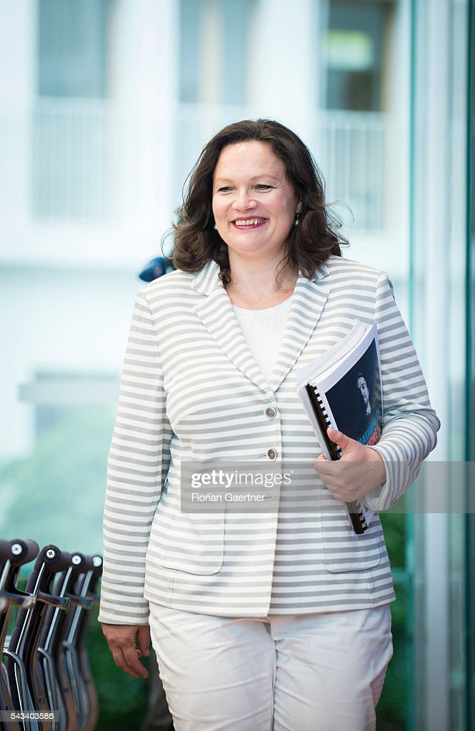 German Minister of Work and Social Issues <a gi-track='captionPersonalityLinkClicked' href=/galleries/search?phrase=Andrea+Nahles&family=editorial&specificpeople=822618 ng-click='$event.stopPropagation()'>Andrea Nahles</a> is captured before a press conference on June 28, 2016 in Berlin, Germany.