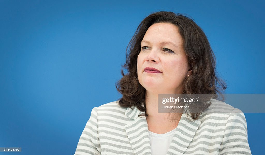 German Minister of Work and Social Issues <a gi-track='captionPersonalityLinkClicked' href=/galleries/search?phrase=Andrea+Nahles&family=editorial&specificpeople=822618 ng-click='$event.stopPropagation()'>Andrea Nahles</a> is captured during a press conference on June 28, 2016 in Berlin, Germany.