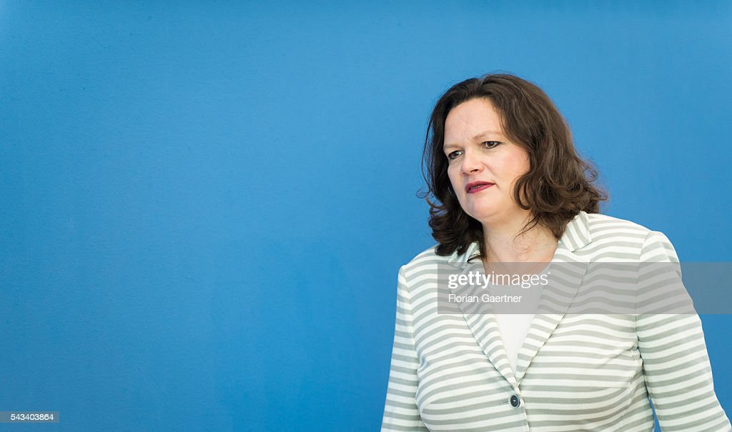 German Minister of Work and Social Issues <a gi-track='captionPersonalityLinkClicked' href=/galleries/search?phrase=Andrea+Nahles&family=editorial&specificpeople=822618 ng-click='$event.stopPropagation()'>Andrea Nahles</a> is captured after a press conference on June 28, 2016 in Berlin, Germany.