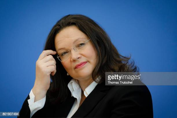 German Minister of Work and Social Issues Andrea Nahles speaks to the media on June 27 2017 in Berlin Germany