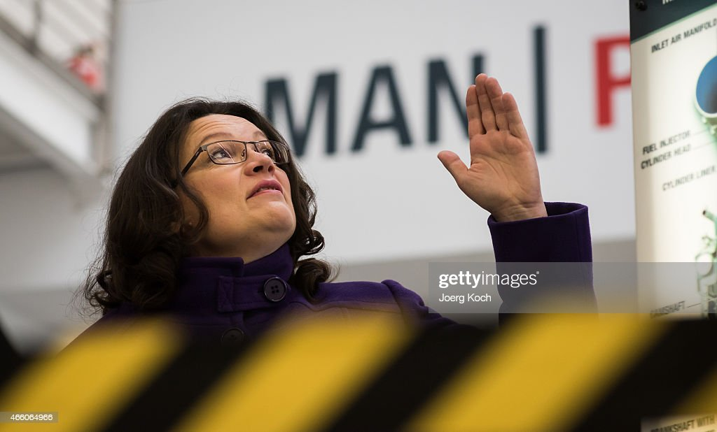 German Minister of Work and Social Issues <a gi-track='captionPersonalityLinkClicked' href=/galleries/search?phrase=Andrea+Nahles&family=editorial&specificpeople=822618 ng-click='$event.stopPropagation()'>Andrea Nahles</a> visits the production at the MAN Diesel and Turbo factory on March 13, 2015 in Augsburg, Germany. Germany's export-driven economy has fared well in comparison to other EU countries in recent years and the German Federation of German Wholesale, Foreign Trade and Services (BGA) is predicting German exports to rise to record levels in 2015, in part aided by the weakening Euro.