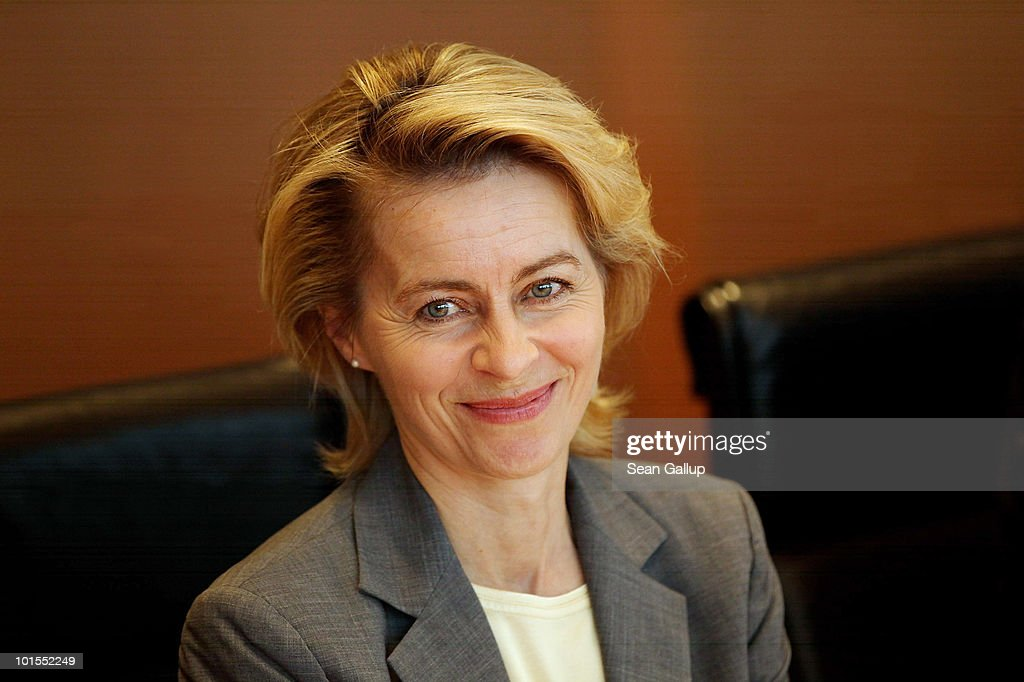 German Minister of Work and Social Issues <a gi-track='captionPersonalityLinkClicked' href=/galleries/search?phrase=Ursula+von+der+Leyen&family=editorial&specificpeople=4249207 ng-click='$event.stopPropagation()'>Ursula von der Leyen</a> arrives for the weekly German government cabinet meeting on June 2, 2010 in Berlin, Germany. According to media reports von der Leyen is currently the favourite to succeed former German President Horst Koehler, who unexpectedly announced his resignation on May 31. An assembly comprised of the German Bundestag and other leaders will vote in a new president on June 30.