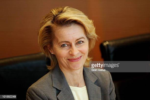 German Minister of Work and Social Issues Ursula von der Leyen arrives for the weekly German government cabinet meeting on June 2 2010 in Berlin...