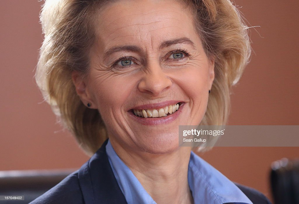 German Minister of Work and Social Issues <a gi-track='captionPersonalityLinkClicked' href=/galleries/search?phrase=Ursula+von+der+Leyen&family=editorial&specificpeople=4249207 ng-click='$event.stopPropagation()'>Ursula von der Leyen</a> arrives for the weekly German government cabinet meeting on November 28, 2012 in Berlin, Germany. High on the morning's agenda was changes to the country's pension system.