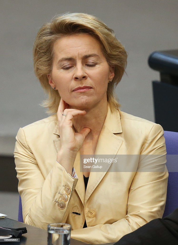 German Minister of Work and Social Issues <a gi-track='captionPersonalityLinkClicked' href=/galleries/search?phrase=Ursula+von+der+Leyen&family=editorial&specificpeople=4249207 ng-click='$event.stopPropagation()'>Ursula von der Leyen</a> attends debates in the Bundestag over quotas for women in management positions at German corporations on April 18, 2013 in Berlin, Germany. Von der Leyen, a Christian Democrat (CDU), has pushed for quotas, though is at odds on the subject with much of her party, including Chancellor Angela Merkel.