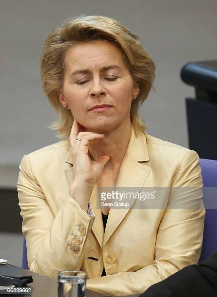 German Minister of Work and Social Issues Ursula von der Leyen attends debates in the Bundestag over quotas for women in management positions at...
