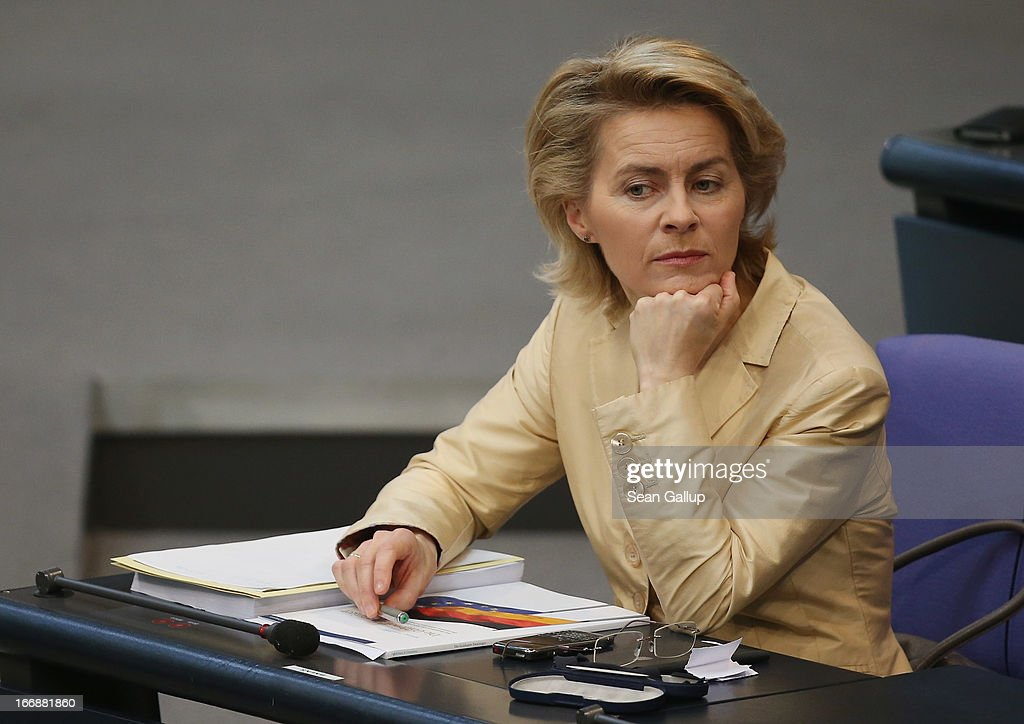 German Minister of Work and Social Issues <a gi-track='captionPersonalityLinkClicked' href=/galleries/search?phrase=Ursula+von+der+Leyen&family=editorial&specificpeople=4249207 ng-click='$event.stopPropagation()'>Ursula von der Leyen</a> attends sits in the Bundestag prior to debates over quotas for women in management positions at German corporations on April 18, 2013 in Berlin, Germany. Von der Leyen, a Christian Democrat (CDU), has pushed for quotas, though is at odds on the subject with much of her party, including Chancellor Merkel.