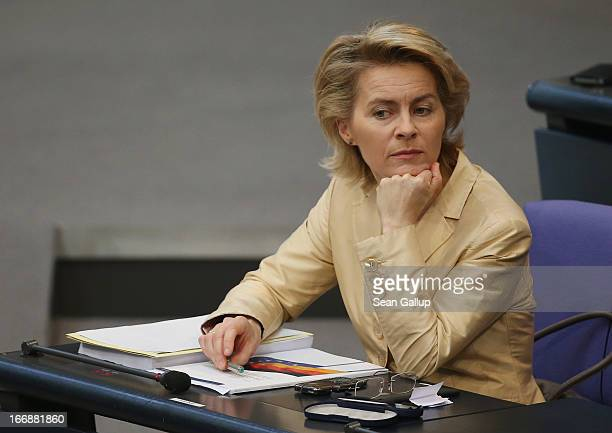 German Minister of Work and Social Issues Ursula von der Leyen attends sits in the Bundestag prior to debates over quotas for women in management...