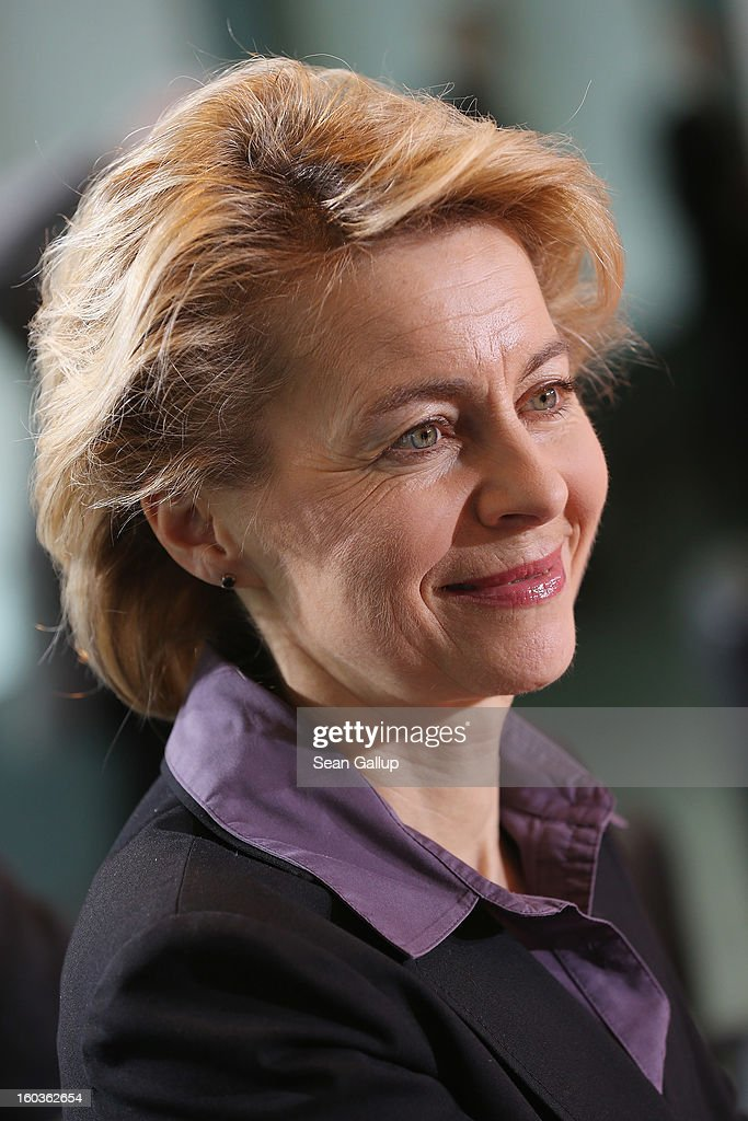 German Minister of Work and Social Issues Ursula von der Leyen arrives the weekly German government cabinet meeting on January 30, 2013 in Berlin, Germany. High on the morning's agenda was a measure that will affect Germany's state railway network.