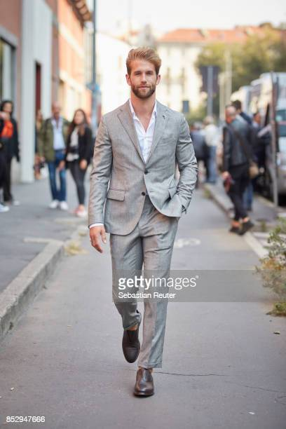 German model Andre Hamann is seen during Milan Fashion Week Spring/Summer 2018 on September 24 2017 in Milan Italy